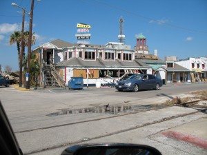 What's left of a waterfront restaurant in Galveston
