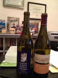 2011 Mission Point Pinot Noir and 1999 Patrick LeSec Rasteau Vieilles Vignes